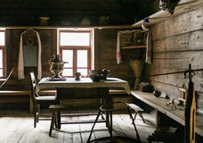 A fragment of the old rooms. The interiors of the museum of wooden architecture Vitoslavlice Royalty Free Stock Image