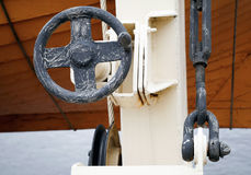 Fragment of old safe-boat crane. Abstract fragment of old safe-boat crane Royalty Free Stock Photography
