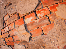 Fragment of an old shabby brick wall. With wide angle fisheye lens view royalty free stock photo