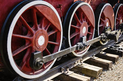 Fragment of an old steam locomotive running gear Stock Images