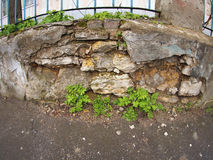 Fragment of old stone wall. With wide angle fisheye view stock image