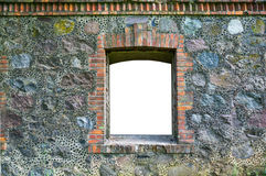 Fragment of old stone wall with a window Royalty Free Stock Photos