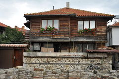 Fragment of the old streets of Nessebar, wooden house Royalty Free Stock Photography