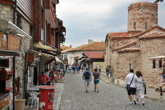 Fragment of the old streets, people on the street, Royalty Free Stock Images