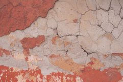 Fragment of old teny with layers plaster Stock Photos