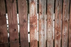 Fragment of an old textured brown fence.Wooden texture. Texture, background.Old wood painted surface. The structure of the wall stock photo