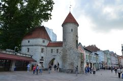 Fragment of the Old Town - the ancient part of Tallinn, the capital of Estonia royalty free stock photos