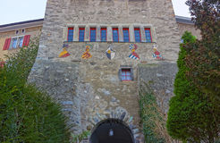 Fragment of Old Town Gate in Chur Royalty Free Stock Photos