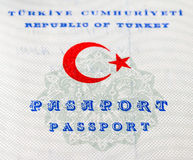 Fragment of old Turkish passport. Close up Royalty Free Stock Photography