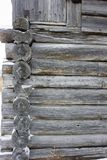 Fragment of an old village house in the north of Russia. Old weathered magazine. Texture of log shear Stock Photo