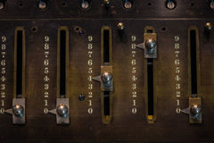 The fragment of old and vintage adding machine Royalty Free Stock Images