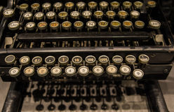 The fragment of old and vintage adding machine Royalty Free Stock Photo