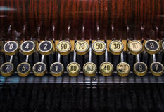 The fragment of old and vintage adding machine Royalty Free Stock Photos