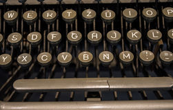 The fragment of an old and vintage typewriter Stock Photos