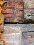 Fragment of old wall of the house of timber Royalty Free Stock Image