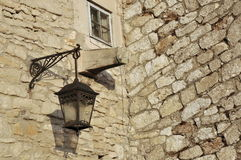Fragment of old  walls with window and lamp Stock Photo
