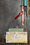 Fragment of an old wooden black door with a lock Royalty Free Stock Photo
