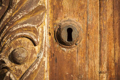 Fragment of old wooden door. Stock Photo