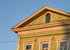 Fragment of old wooden house. Fragment of old wooden house in Vologda, Russia Stock Photos