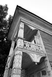 Fragment of old wooden house. Fragment of old wooden house in Vologda, Russia. Black and white Royalty Free Stock Photo