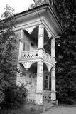 Fragment of old wooden house. Fragment of old wooden house in Vologda, Russia. Black and white Stock Photography