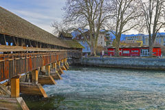 Fragment of Old Wooden Sluice bridge in Thun Old City Stock Photos