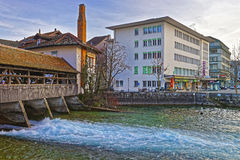 Fragment of Old Wooden Sluice bridge in Thun Old Town Royalty Free Stock Photo