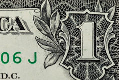 Fragment of one dollar bill Royalty Free Stock Photos