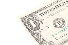 Fragment of one dollar bill. Royalty Free Stock Photo