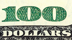 Fragment of  One Hundred Dollar Bill Stock Images