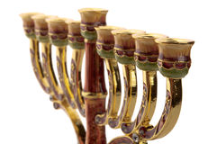 Fragment  of an ornate bronze menorah Stock Image