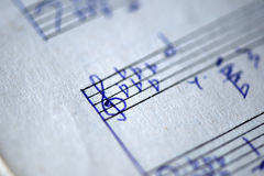 Fragment of the page of the old musical textbook Royalty Free Stock Photography