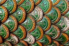 Fragment of painted banisters in Buddhist temple. Chiang Mai province, Doi Suthep, Thailand royalty free stock photo