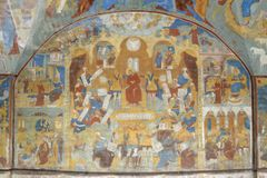 Fragment of painting in the Temple of the Beheading of John the Baptist in the city of Yaroslavl, Russia. stock images