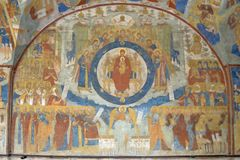 Fragment of painting in the Temple of the Beheading of John the Baptist in the city of Yaroslavl, Russia. stock photos