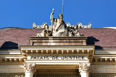 Fragment of Palace de Justice Montbenon in Lausanne Royalty Free Stock Image