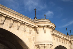 Fragment of Paris bridge Pont Neuf, France. Stock Photos