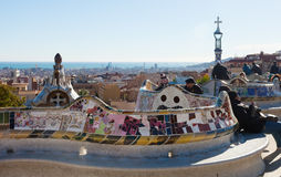 Fragment of Park Guell in winter Stock Photo