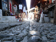 Fragment of paved path in the traditional bazaar in Kruja, Alban Royalty Free Stock Photos