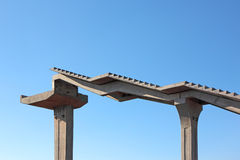 Fragment of a pedestrian bridge. Under construction Royalty Free Stock Photography
