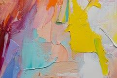 fragment Peinture multicolore de texture Fond d'art abstrait Pétrole sur la toile Traçages approximatifs de peinture Plan rapproc photos libres de droits