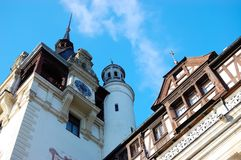 Fragment of Peles palace against the blue sky in Sinaia. Stock Images