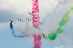 Fragment of the performance of the UAE Air Force aerobatics team `Fursan Al Emarat` on the Russian MAKS-2017 air show Stock Photography