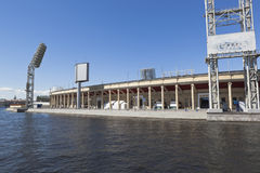 Fragment of the Petrovsky sports complex from the Zhdanovka river in St. Petersburg Stock Images