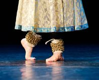 Fragment photo of dancer, only legs cropped, indian dancer Royalty Free Stock Image