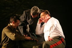 A fragment of the play about the second world war Stock Image
