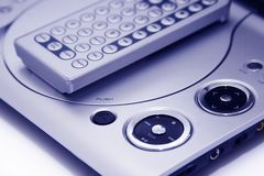 Fragment portable DVD player. Royalty Free Stock Photography