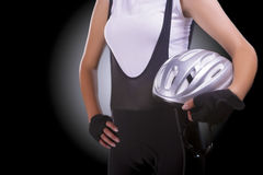 Fragment portrait of a female professional athlete standing with Royalty Free Stock Images