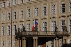 Fragment of the Prague castle Located in the Hradcany district is the official residence and office of the President of the Czech. Republic royalty free stock image