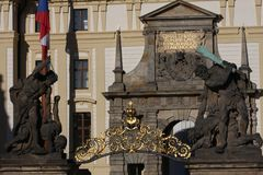 Fragment of the Prague castle Located in the Hradcany district is the official residence and office of the President of the Czech. Republic stock photography